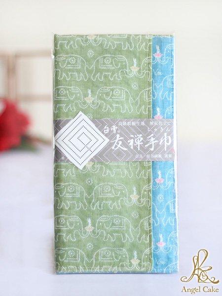 白雪友禅手巾 ブッダ(リーフグリーン + ナイルブルー)