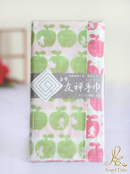 白雪友禅手巾 白雪姫(ポムグリーン + ポムレッド)