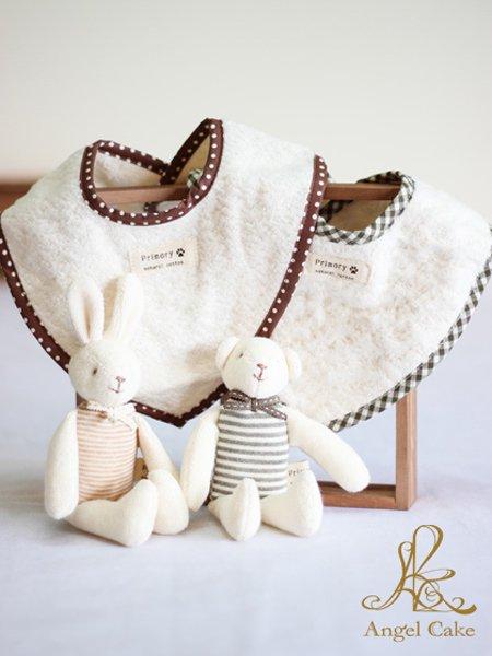 オーガニックのウサギ・クマのマスコットガラガラ バンダナスタイセット