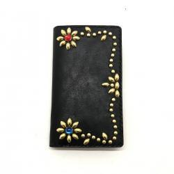 IPHONE CASE BOOK FLIP CARD HOLDER CASE /手染めレザー 手帳型アイフォーンケース スタッズ フラワー ブルーレッドスポッズ