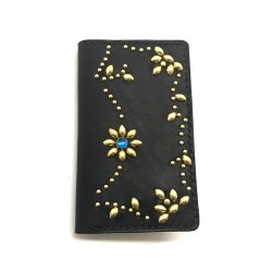 ANTIQUE DYED LEATHER IPHONE 7&6 CASE BOOK FLIP CARD HOLDER CASE ARABESQUE /手染めレザー 手帳型アイフォーンケース