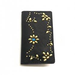 IPHONE CASE BOOK FLIP CARD HOLDER CASE ARABESQUE /手染めレザー 手帳型アイフォーンケース スタッズ 唐草模様 ブルースポッズ