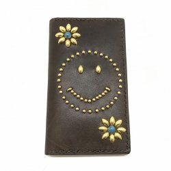 IPHONE CASE BOOK FLIP CARD HOLDER CASE SMILE /手染めレザー 手帳型アイフォーンケース ブラウン スタッズ スマイリーマーク ターコイズ