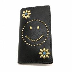 IPHONE CASE BOOK FLIP CARD HOLDER CASE SMILE /手染めレザー 手帳型アイフォーンケース スタッズ スマイリーマーク ターコイズ