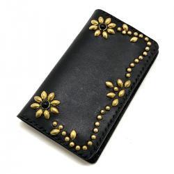 iPhone Case Book Flip Card Holder Flower Black /手染めレザー 手帳型アイフォーンケース スタッズ フラワー ブラックスポッズ
