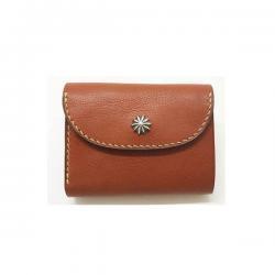 シボ革 三つ折り財布 グレインレザー ハンドステッチ ショートウォレット / Grain Leather Hand Stitch 3 holding wallet Brown