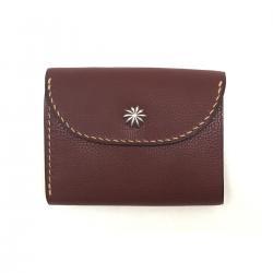 シボ革 三つ折り財布 グレインレザー ハンドステッチ ショートウォレット / Grain Leather Hand Stitch 3 holding wallet Choco