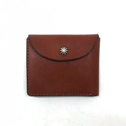 シボ革 二つ折り財布 グレインレザー ハンドステッチ ショートウォレット / Grain Leather Hand Stitch Flap bi-fold wallet Brown