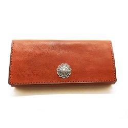 シボ革 長財布 グレインレザー ハンドステッチ ロングウォレット / Grain Leather Hand Stitch Concha Concho long wallet Brown