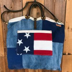 【SALE】Patchwork Denim Vintage USA Flag Reversible Tote Bag / パッチワークデニム×ヴィンテージUSAフラッグ リバーシブルトートバッグ
