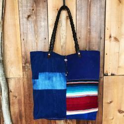 【SALE】Patchwork Vintage Fabric Mexican Rag Tote Bag / パッチワークビンテージ ファブリック×メキシカンラグ トートバッグ