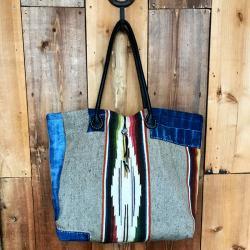 Patchwork Mexican Rag×Denim Tote Bag / パッチワークビンテージメキシカンラグ×デニム トートバッグ