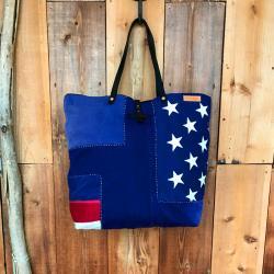 【SALE】Patchwork Fabric Vintage USA Flag Tote Bag / パッチワークビンテージメキシカンラグ トートバッグ