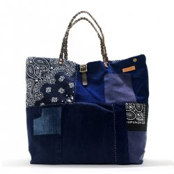 【SALE】Patchwork Vintage Fabric Bandana 3-Magic Braided Tote Bag / パッチワークビンテージファブリックバンダナトートバッグ