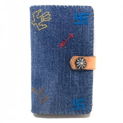 Wash Denim Native stitch iPhone 7 case Book Flip Card Holder Case Snap / ウォッシュデニム 手帳型アイフォーンケース レッド