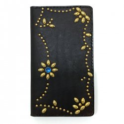 ANTIQUE DYED LEATHER IPHONE 7plus CASE BOOK FLIP CARD HOLDER CASE ARABESQUE /手染めレザー 手帳型アイフォーンケース