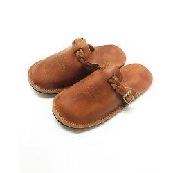 マジック編みベルト ビブラムソール 手縫い ステッチデザイン レザーサンダル magic braid belt Plain Leather Sandal