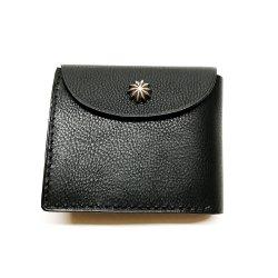 シボ革 二つ折り財布 グレインレザー ハンドステッチ ショートウォレット / Grain Leather Hand Stitch Flap bi-fold wallet Black