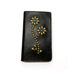 ANTIQUE DYED LEATHER IPHONE7 8 CASE BOOK FLIP CARD HOLDER CASE FLOWER /手染めレザー 手帳型アイフォーンケース