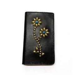 IPHONE CASE BOOK FLIP CARD HOLDER CASE FLOWER /手染めレザー 手帳型アイフォーンケース スタッズ ダブルフラワー ターコイズ