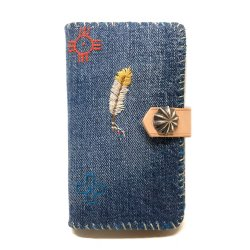 Wash Denim Native stitch iPhone 7 8 case Book Flip Card Holder Case Snap /  手帳型アイフォーンケース フェザー