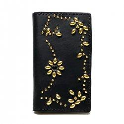 iPhone CASE BOOK FLIP CARD HOLDER CASE ARABESQUE /手染めレザー 手帳型アイフォーンケース スタッズ 唐草模様  ブラックスポッズ