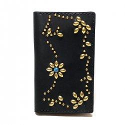 iPhone CASE BOOK FLIP CARD HOLDER CASE ARABESQUE /手染めレザー 手帳型アイフォーンケース スタッズ唐草模様 ターコイズ