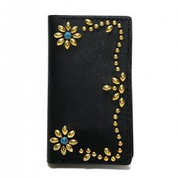 ANTIQUE DYED LEATHER iPhone 7 8 CASE BOOK FLIP CARD HOLDER CASE FLOWER /手染めレザー 手帳型アイフォーンケース