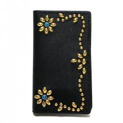 iPhone CASE BOOK FLIP CARD HOLDER CASE FLOWER /手染めレザー 手帳型アイフォーンケース  スタッズフラワー  ターコイズ