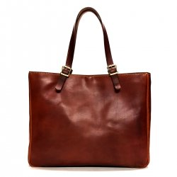 Leather square totebag/スクエア型 レザートートバッグ BROWN