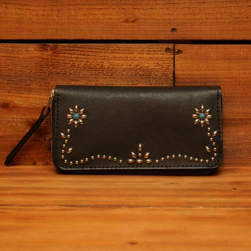 ラウンドジップ ロングウォレット  / Hand dyed Cow Leather Round Long Wallet w/Studs Flower Black