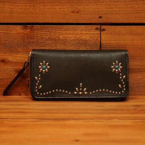 ラウンドジップ ロングウォレット  / Hand dyed Cow Leather Round Long Wallet w/Studs Flower Black