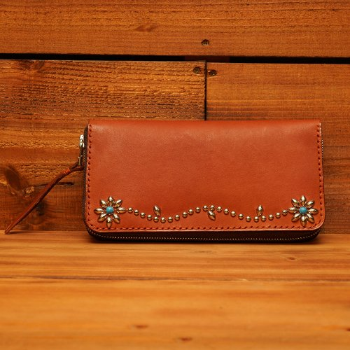 ラウンドジップ ロングウォレット  / Hand dyed Cow Leather Round Long Wallet w/Studs Flower Brown