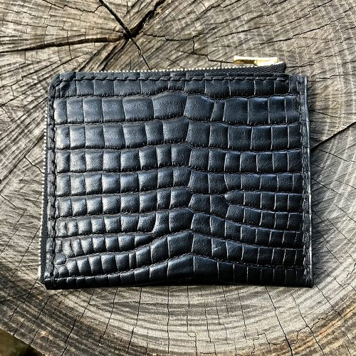 クロコダイル型押しレザーL字ウォレット  / Crocodile Embossing leather L Zip Wallet