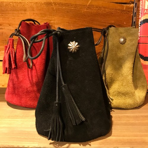 Velour Fabric Drawstring Bag Pouch w/concho 牛ベロア素材 巾着バッグ