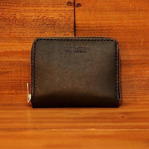 手染レザーミニラウンドジップ マネークリップ  / Hand dyed Cow Leather Round Mini Wallet w/money clip BLACK