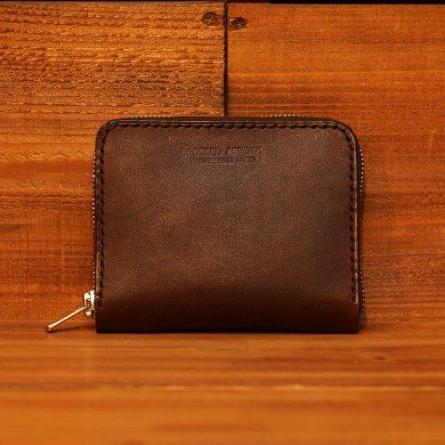 手染レザーミニラウンドジップ マネークリップ  / Hand dyed Cow Leather Round Mini Wallet w/money clip BROWN