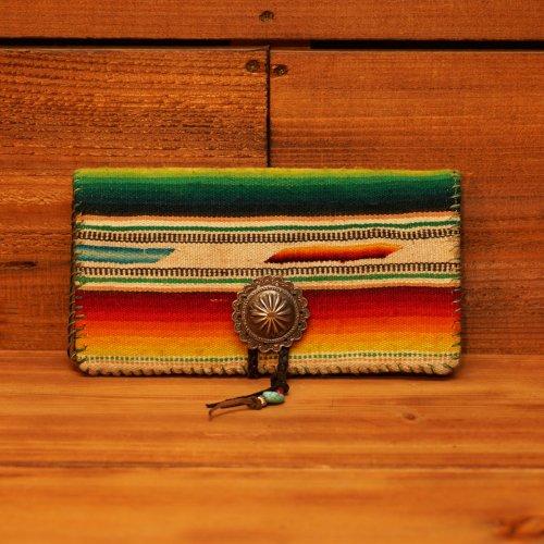 ヴィンテージメキシカンラグ 950シルバーコンチョ 長財布 / Vintage Mexican Rag Silver 950 Concho Long Wallet Green line