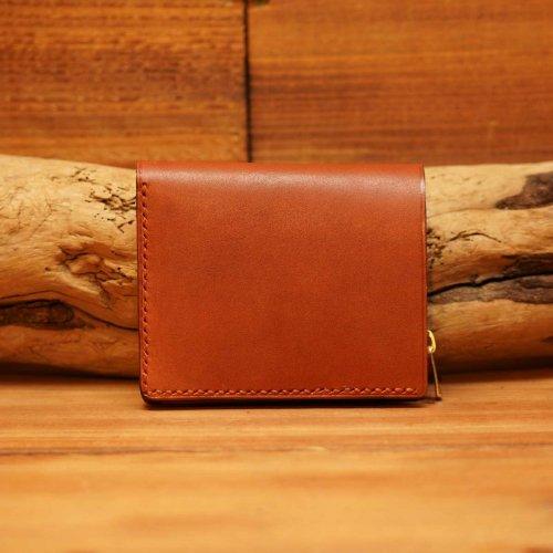手染レザー ラウンドジップ ミニウォレット  / Hand dyed Cow Leather Round Mini Wallet  BROWN