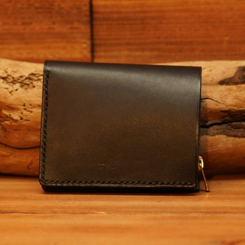 手染レザー ラウンドジップ ミニウォレット  / Hand dyed Cow Leather Round Mini Wallet  BLACK