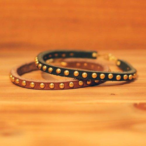 手染め牛革 カウレザー スタッズ ナローブレスレット/ Grain leather studs bracelet