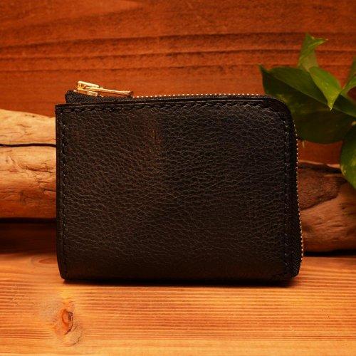 シュリンクシボレザー L字ファスナー ウォレット ブラック×ゴールドファスナー/ Shrink Sibo leather L Zip Wallet