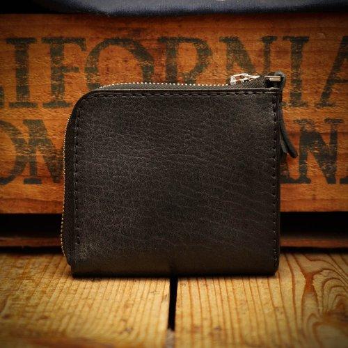 シュリンクシボレザー コンパクトウォレット L字財布 ブラック/ Shrink Sibo leather L-Wallet