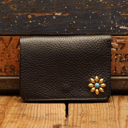 イタリアアリゾナレザー スタッズトラッカーウォレット 財布 ブラックゴールドワンポイント/ Arizona Sibo leather Tracker Wallet One-flower