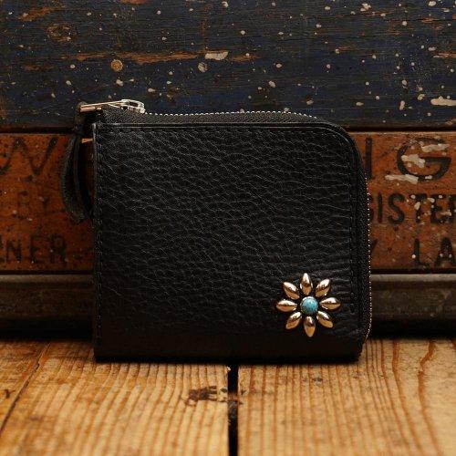 イタリアアリゾナレザー スタッズL字 財布 ブラックシルバーワンポイント/ Arizona Sibo leather L Wallet One-flower