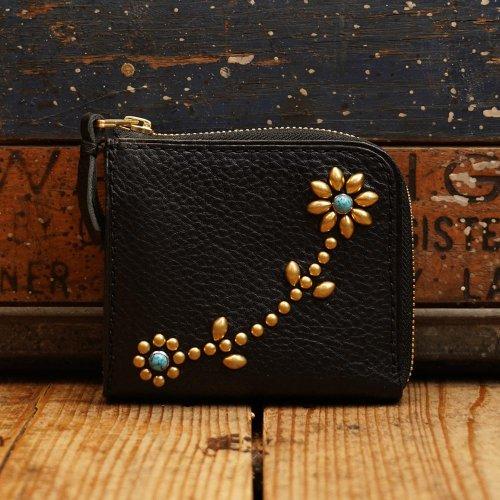 イタリアアリゾナレザー スタッズL字 財布 ブラックゴールド唐草模様/ Arizona Sibo leather L Wallet arabesque