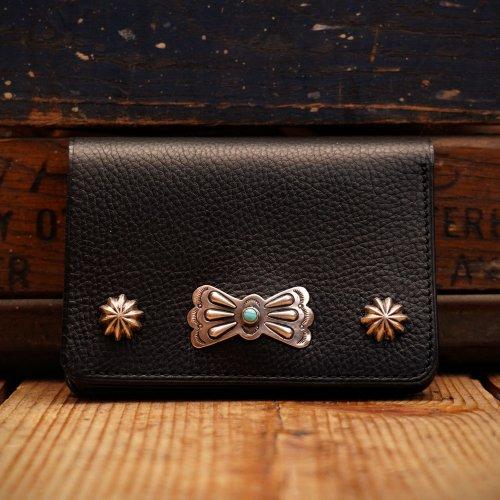 イタリアアリゾナレザー スタッズトラッカーウォレット 財布 ブラックバタフライコンチョ/ Arizona Sibo leather Tracker Wallet butterfly