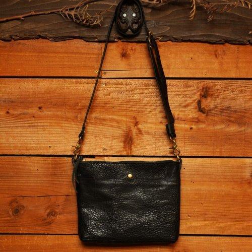ロロマレザー素材 2wayショルダーバッグ ブラック / ROROMA 2way shoulder bag BLACK