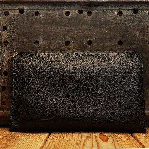 シュリンクシボレザー素材 PCケース クラッチバッグ S ブラック / Shrink Shibio Leather Klutch Bag S BLACK