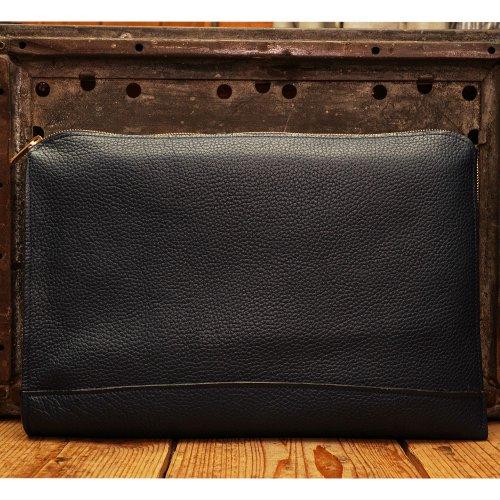 シュリンクシボレザー素材 PCケース クラッチバッグ L ネイビー / Shrink Shibio Leather Klutch Bag L NAVY